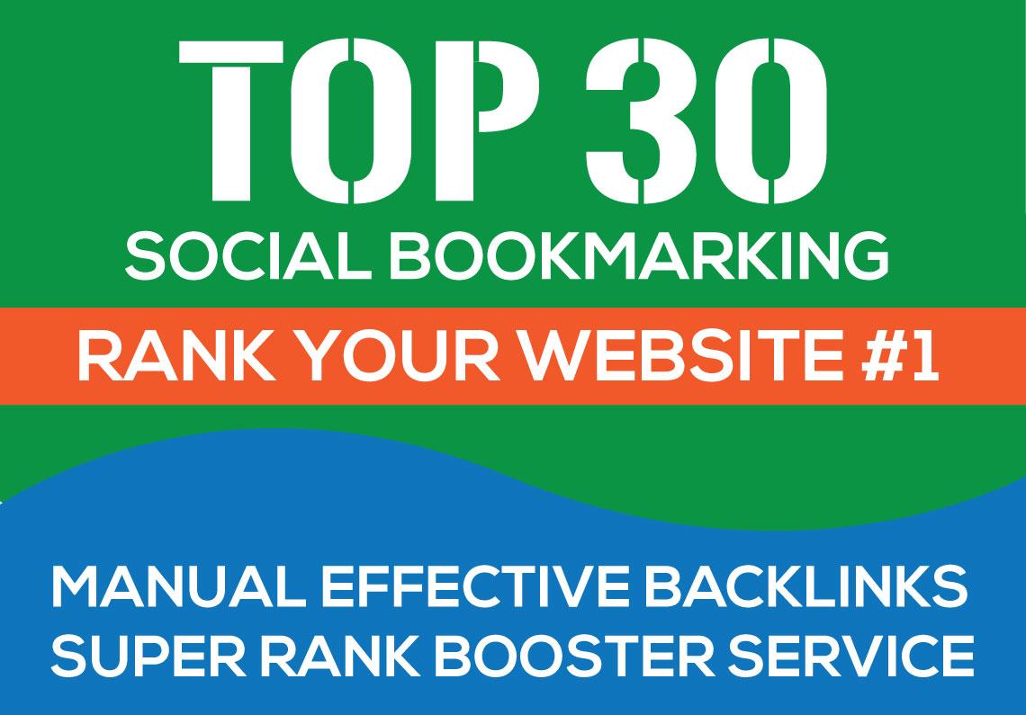30+ High PR TOP Social Bookmarking Backlinks for website