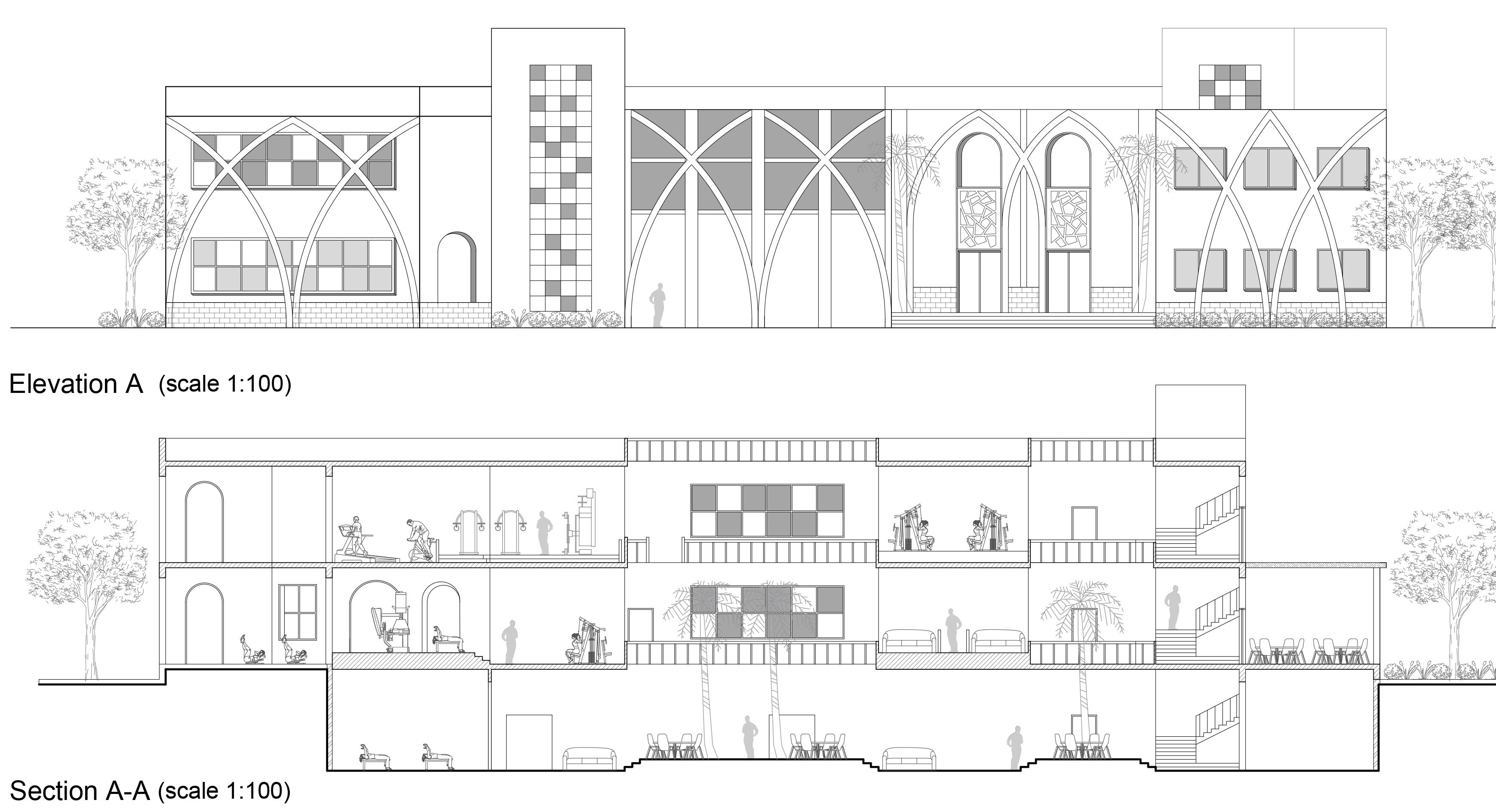 Architecture autocad floor plans,  sections elevations 3dmax