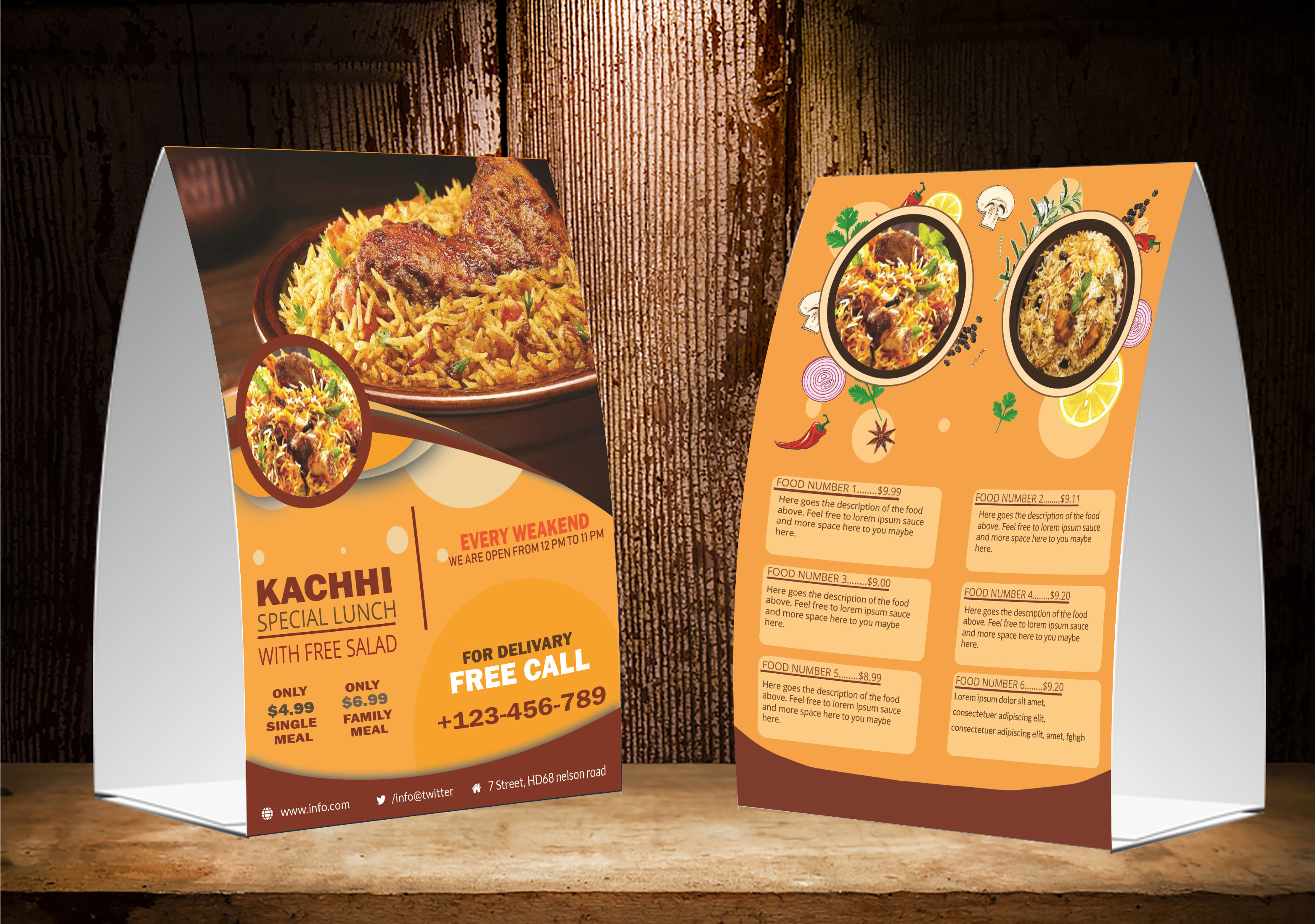 I will create table tent,  menu,  and table calendar design within 24 hours