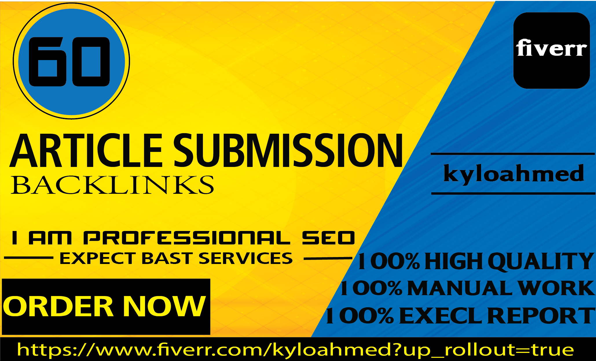 I will provide 60 article submission with high quality backlinks