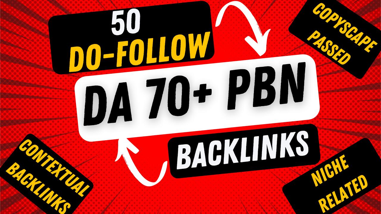 Build 50 High Authority DA 70 Plus Do-Follow PBN Backlinks