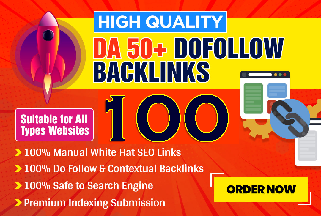 build 100 high quality da 50 plus dofollow contextual SEO backlinks