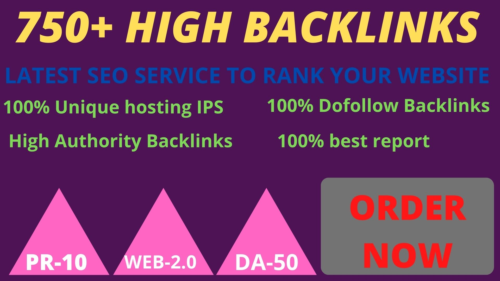 Letest update2021 with 750+ pbn backlinks with high DA /PA on your homepage with a unique website.