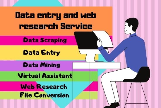 I will do fast online,  offline data entry and web research