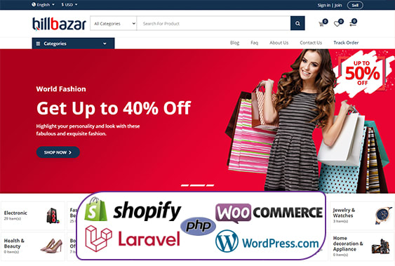 I will build a complete ecommerce website or dropshipping store