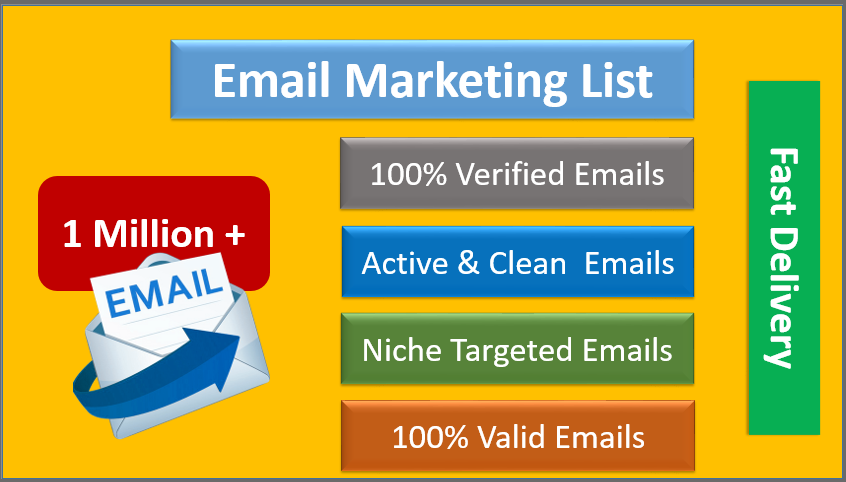 Provide 1 Million email listing for Marketing of your Product