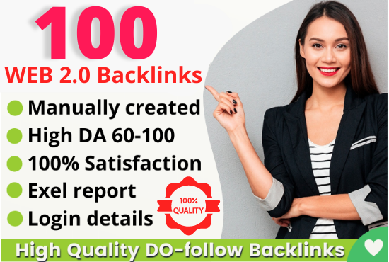 Manually Create 100+HQ Safe Web 2.0 Backlinks Rank on Google
