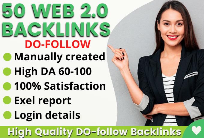 Manually Create 50+HQ Safe Web 2.0 Backlinks Rank on Google