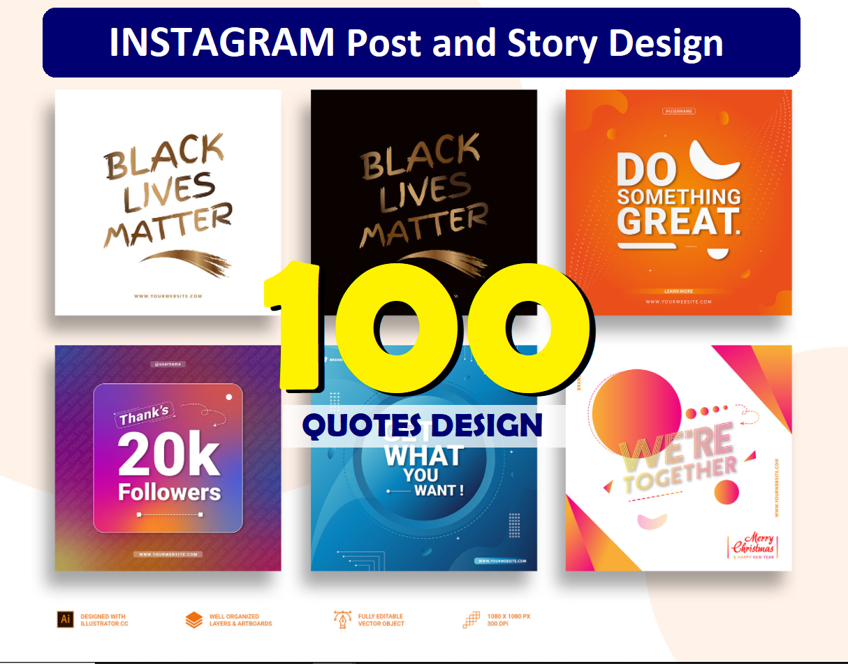 create 100 IG Post and Story Design