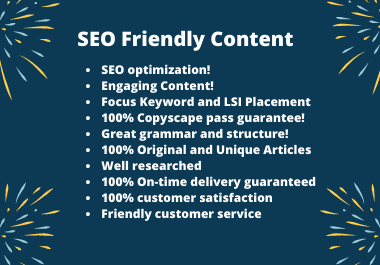 I will write 400 to 600 words SEO friendly content