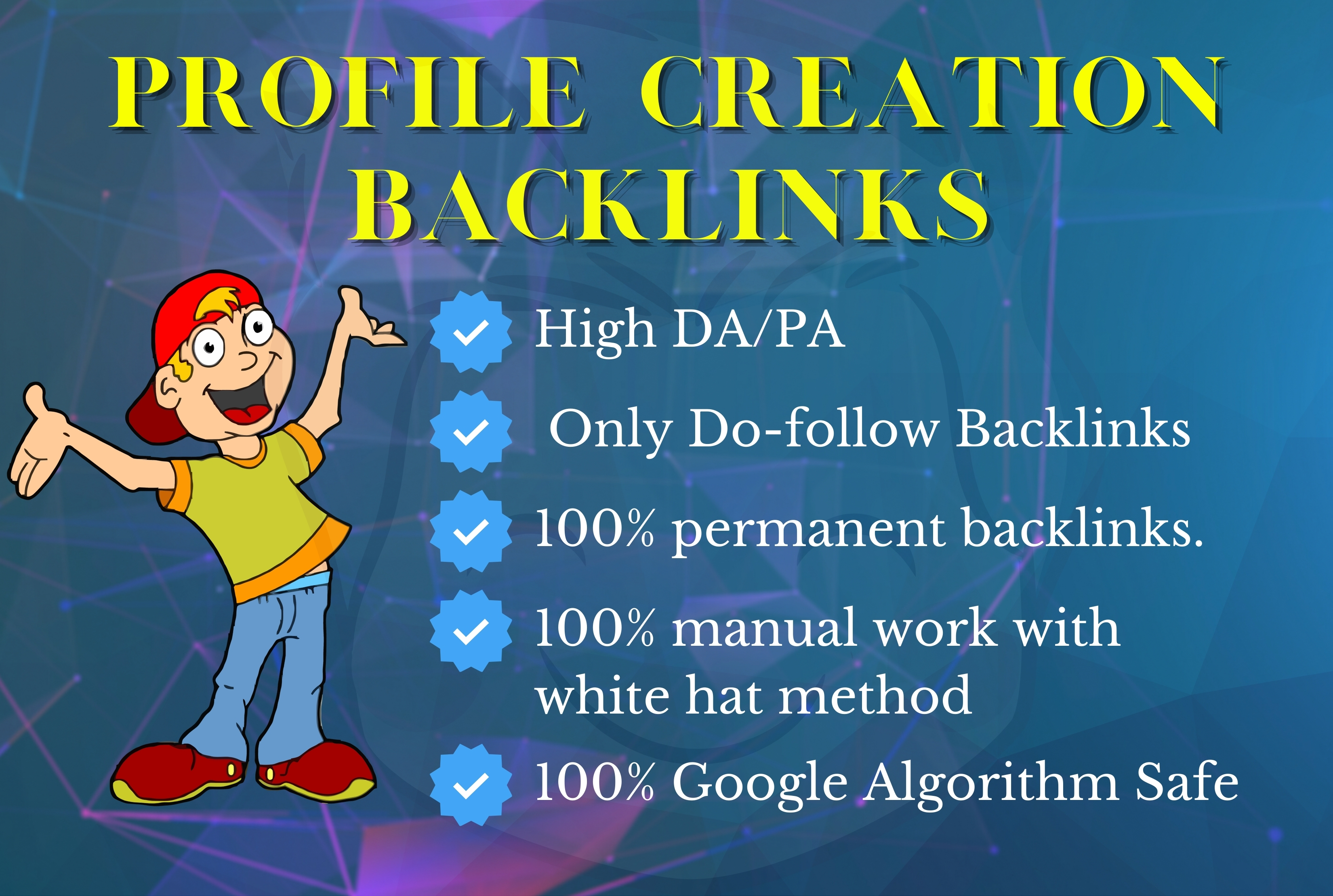I will Do 50 manually Do-follow profile creation on high authority websites