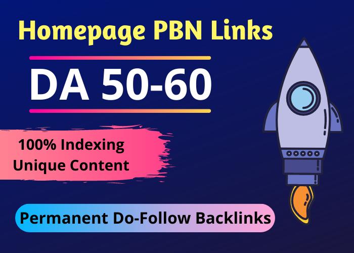 15 High Quality DA 50+ Homepage Dofollow PBN Backlinks