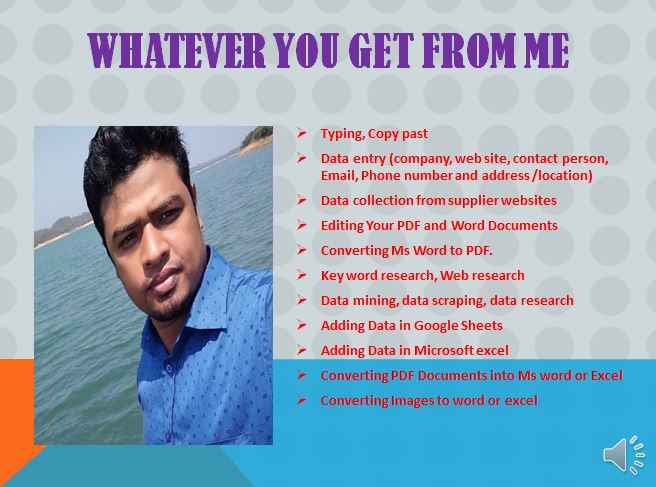 I will do data entry,  convert PDF to word,  data collection,  copy paste