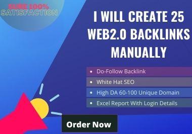 I will create 25 web2.0 backlinks manually.