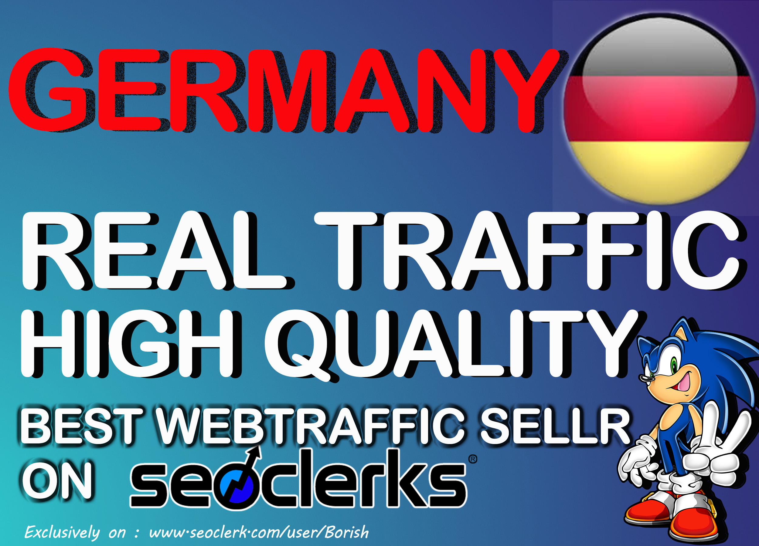 30000 I will send keyword targeted germany traffic with low bounce rate Daily900 - 1000 for 30 days