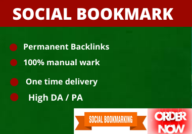 25 Social Bookmarks high authority permanent backlinks natural link building