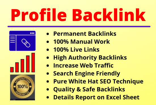 25 Profile Backlinks High Authority Permanent Manual Natural Link Building