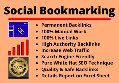 60 Social Bookmarks High Authority Permanent Unique Manual Backlinks for your Website