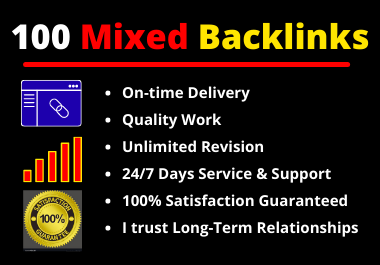 100 Mixed Backlinks High Authority Permanent Natural High Quality Link Building Rank Your Website