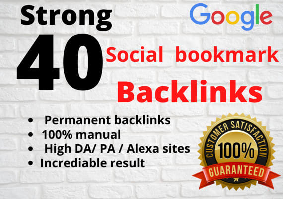 I will create 40 social bookmarking backlinks manually