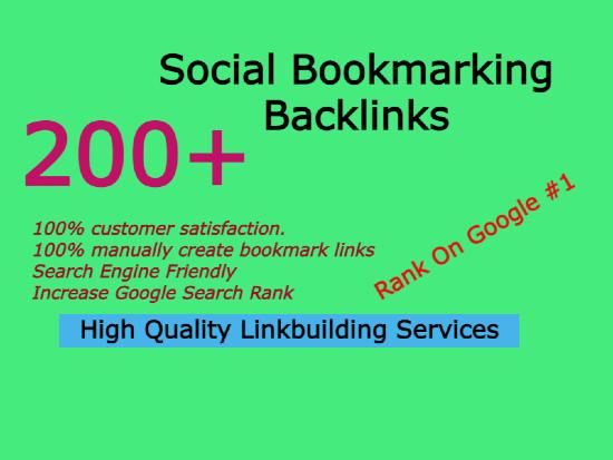 I will do 200 social bookmarking backlinks Manually
