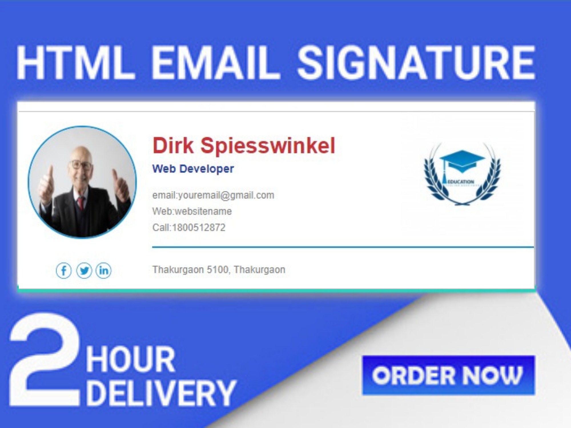 I will create a professional clickable design HTML email signature