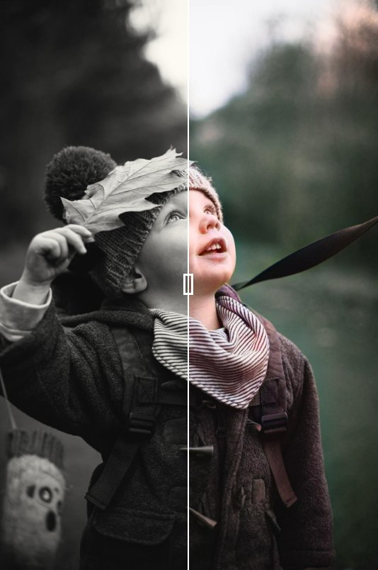 I can convert a black and white image into a natural image