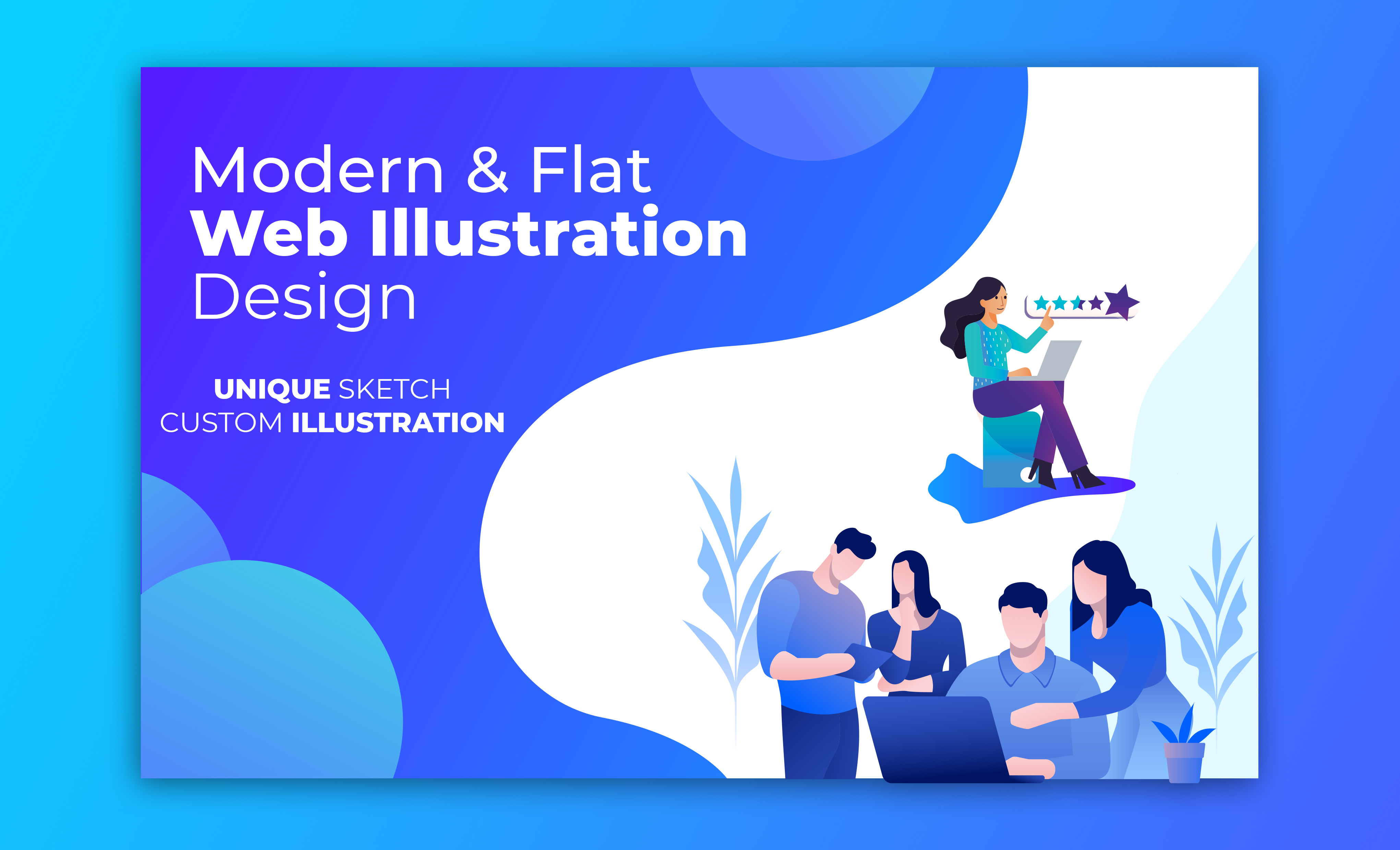 I will design outstanding modern flat illustration for web mobile