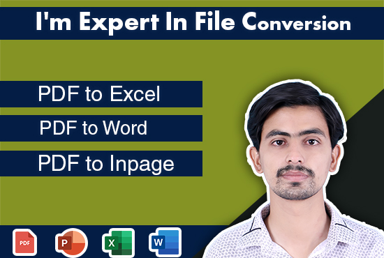 I will convert files to word,  excel,  in page and kindle format