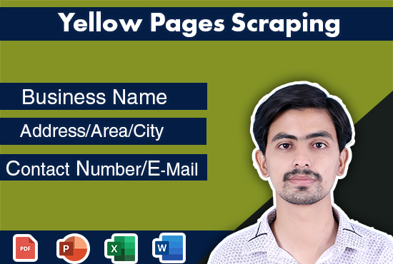 scrape data for yellow pages,  yelp,  yell for email and phone