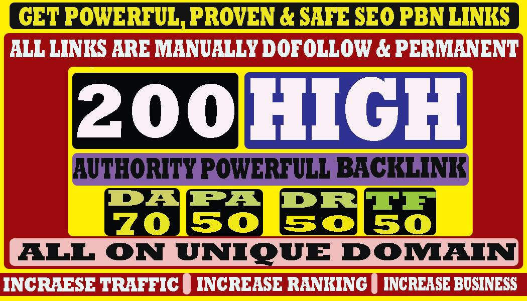 build 200+ Permanent Web2.0 Backlink with High DA/PA/TF/CF On your homepage with unique website