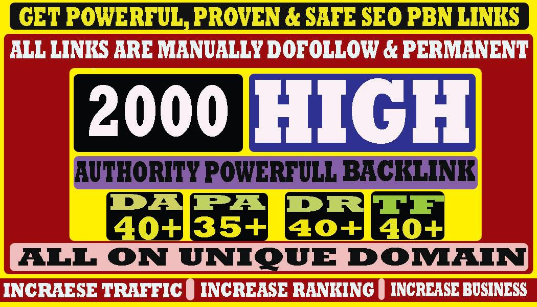 build 2000+ Permanent Web2.0 Backlink with High DA/PA On your homepage with unique website