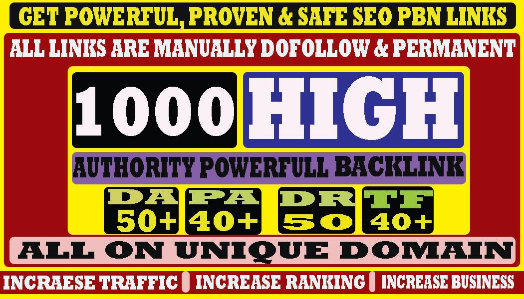 build 1000+ Permanent Web2.0 Backlink with High DA/PA On your homepage with unique website