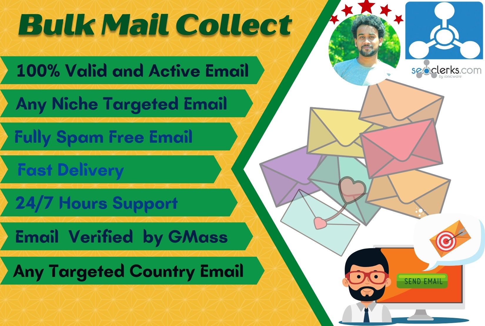 I will send 5k Active and Niche targeted Bulk email list for Email Marketing