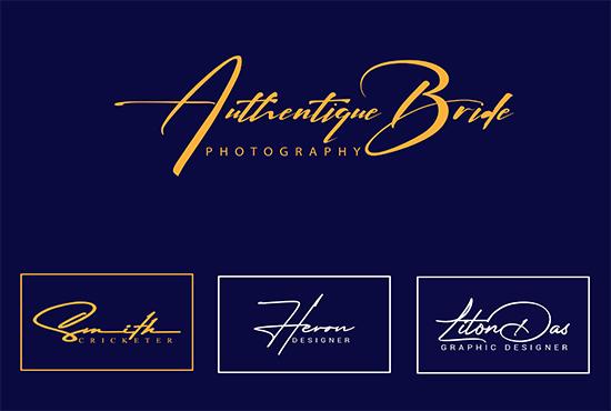 I create handwritten,  signature logo for you