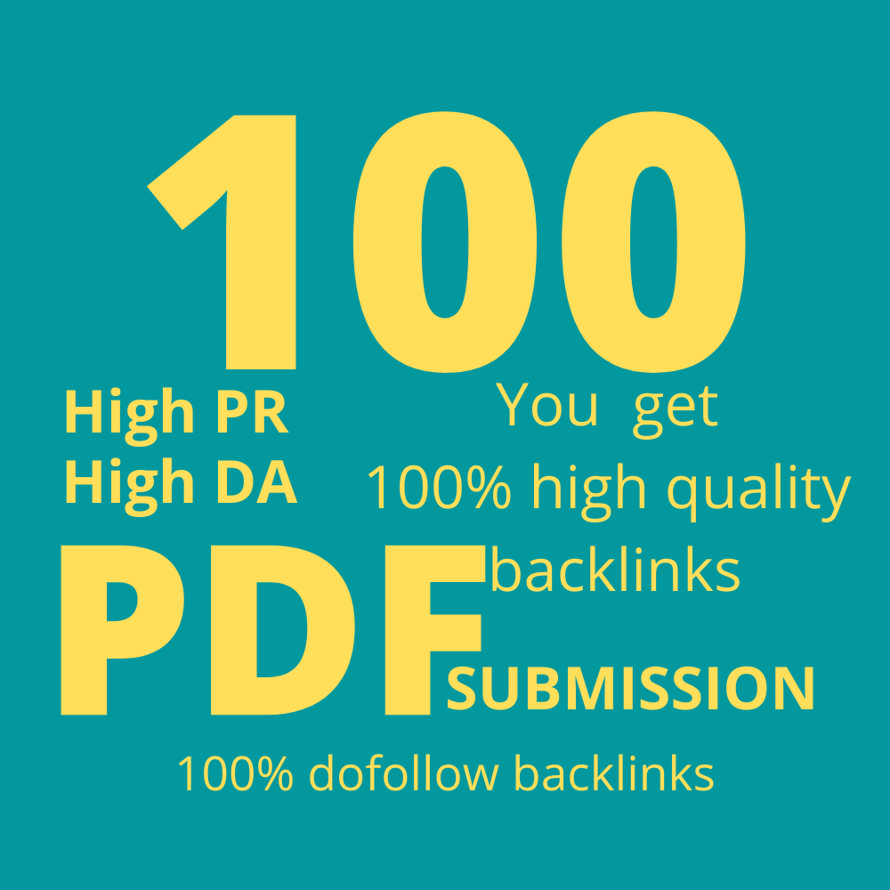 I will do manually PDF submission to 100 pdf high quality sharing sites