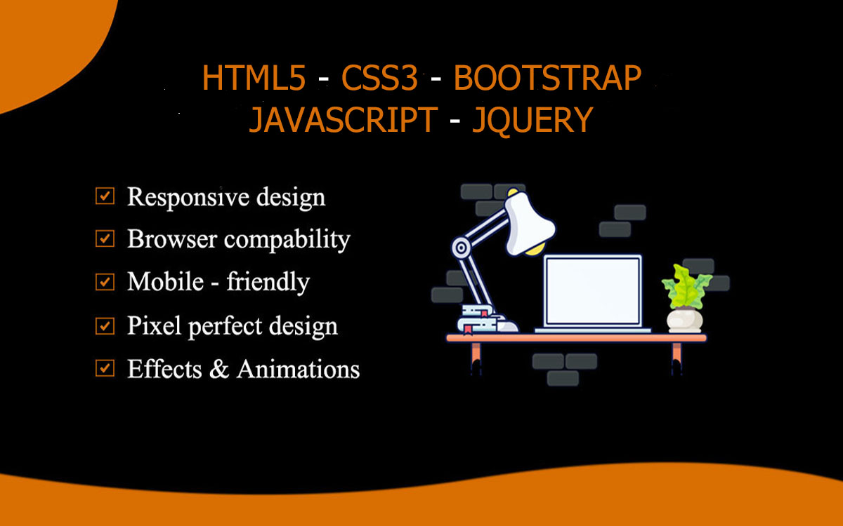 I will create HTML website or convert PSD to HTML5 using css,  bootstrap,  jquery