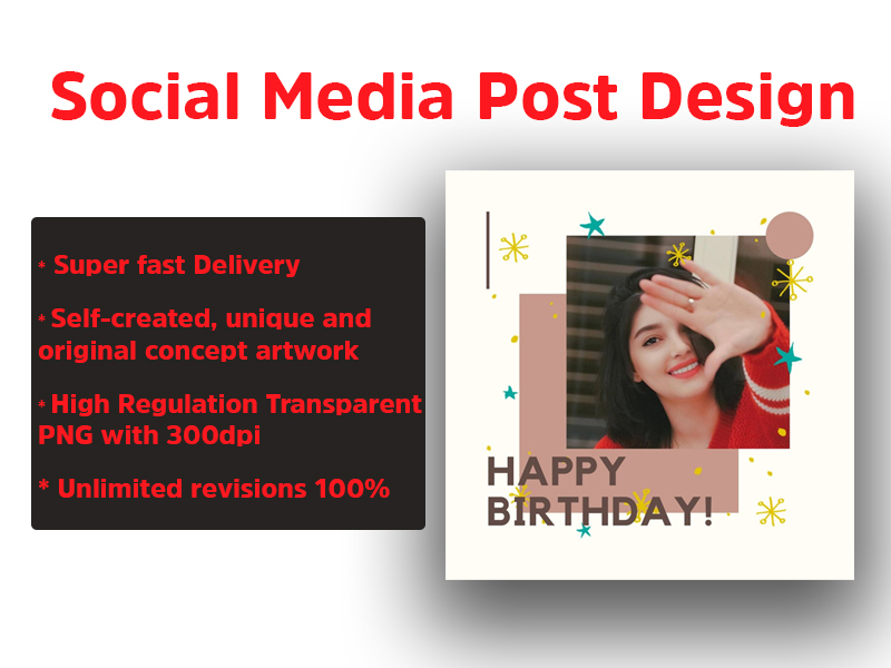 create a professional Birthday instagram post and social media post design