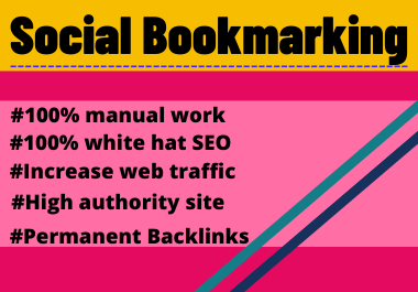 30 Social Bookmarks High Authority Permanent dofollow backlinks unique link building
