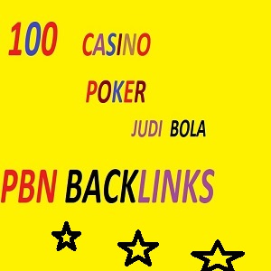 I will manually 100 high quality pbn backlinks for casino,  poker,  gambling,  judi bola,  for ranking