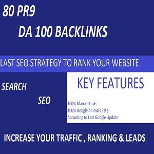 I will do 80 pr9 Powerful Dofollow High DA 100 Backlinks