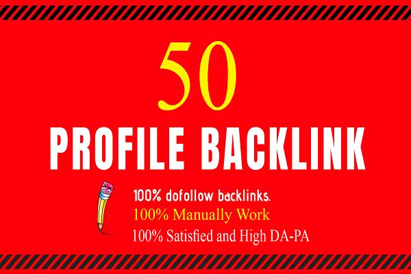 hi, I will manually create 50 do follow high authority profile backlink