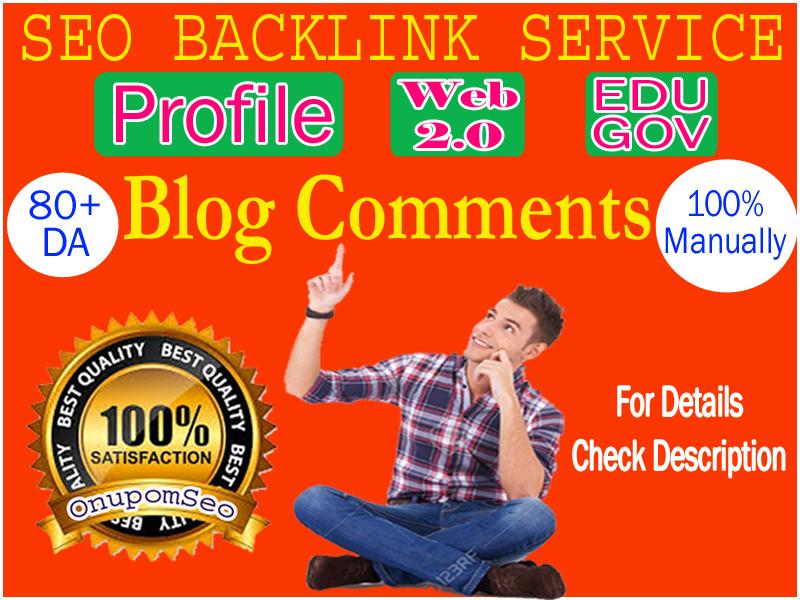 Profile/ Web 2.0 /Edu & Gov Backlinks & Blog comments, Complete SEO Service.