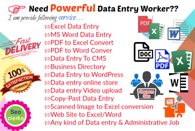 I will do any kind of data entry work for your business
