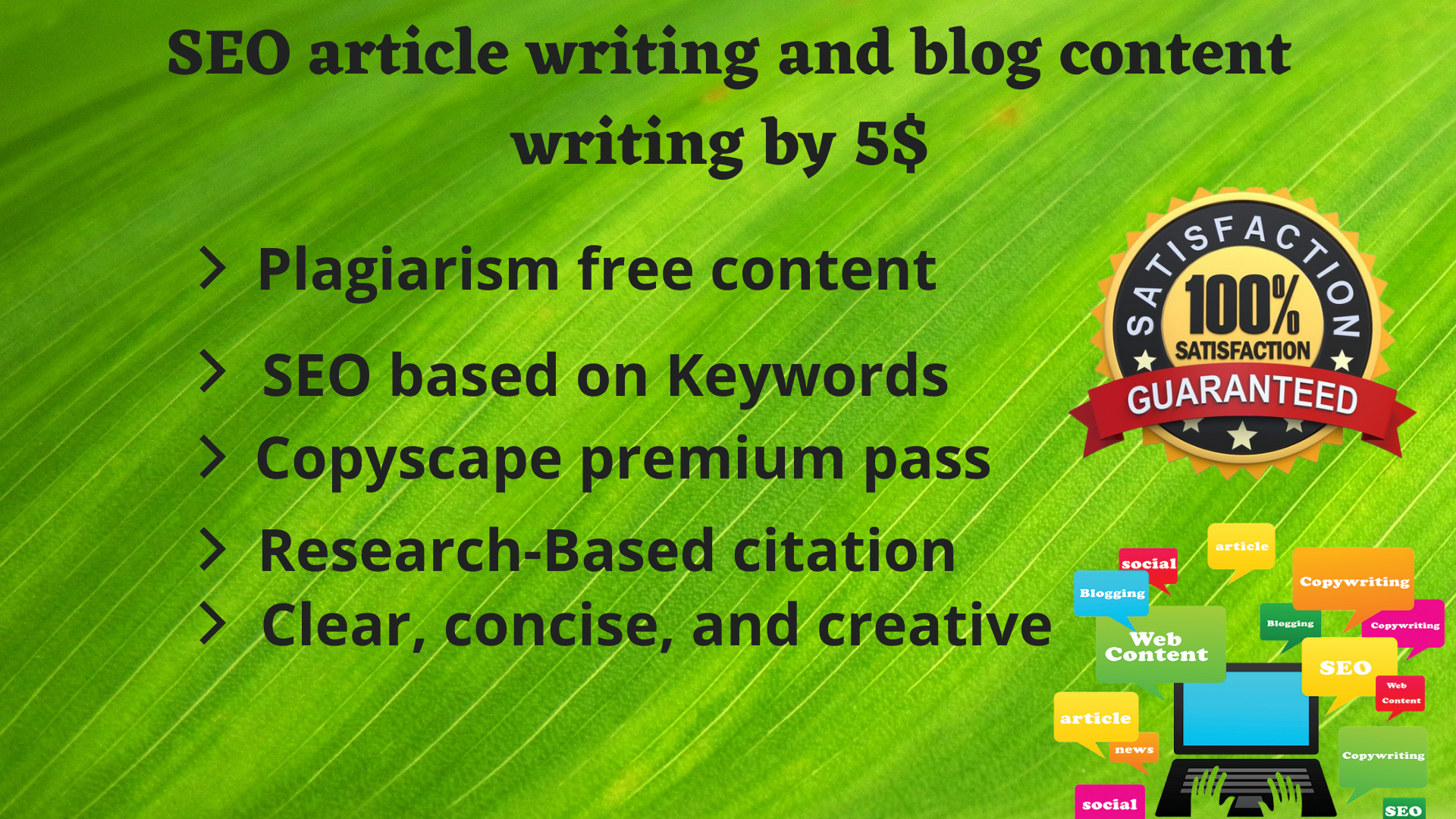 I will be your SEO article writer and blog content writer.