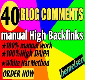 I will do manually create 40 blog comments Backlinks
