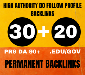 I will manually create 30 pr9 profile backlinks+20 EdU/gov backlinks from HQ websites