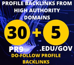 24 hours Delivery 30pr9 +5.Edu/Gov Dofollow DA 90+ SEO profile backlinks
