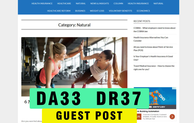 guest post on DA 33 DR 37 health blog with dofollow link