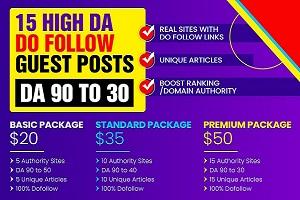 I will write and post 15 high da do follow guest post da 94 to 30